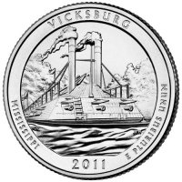 2011 Vicksburg Quarter Coin - P or D Mint - BU