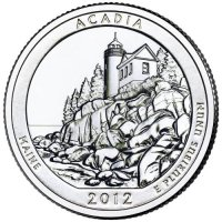 2012 Acadia Quarter Coin - P or D Mint - BU