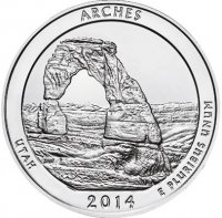 2014 Arches Quarter Coin - P or D Mint - BU