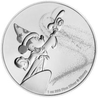 2019 1 oz Niue Silver Disney Mickey Mouse Fantasia Coin - Gem BU
