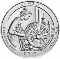 2019 5 oz ATB Lowell Silver Coin - Gem BU (In Capsule)