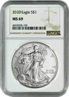 2020 1 oz American Silver Eagle Coin - NGC MS-69