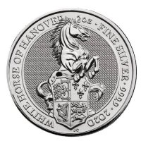 2020 2 oz Great Britain Silver Queen's Beasts Coin - The White Lion Gem BU Reverse