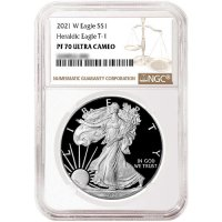 2021-W 1 oz Proof American Silver Eagle Coin - Type I - NGC PF-70 Ultra Cameo