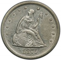 1875-S Twenty Cent Piece Silver Coin - About Uncirculated