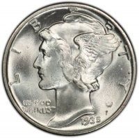 1935 Mercury Silver Dime Coin - Choice BU