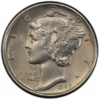 1945-S Mercury Silver Dime Coin - Micro S - Borderline Uncirculated