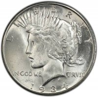 1934-S Peace Silver Dollar Coin - Brilliant Uncirculated (BU)