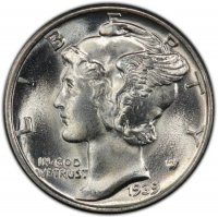 1939 Mercury Silver Dime Coin - Choice BU