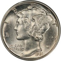1931 Mercury Silver Dime Coin - Choice BU