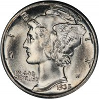 1935-S Mercury Silver Dime Coin - Choice BU