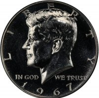 1967 SMS 40% Silver Kennedy Half Dollar Coin - Choice BU