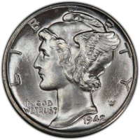 1942-S Mercury Silver Dime Coin - Choice BU
