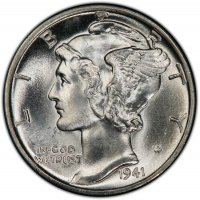 1941-D Mercury Silver Dime Coin - Choice BU