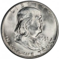 1951-S Franklin Silver Half Dollar Coin - Choice BU