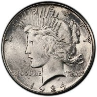 1924-S Peace Silver Dollar Coin - Brilliant Uncirculated (BU)