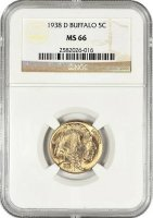1938-D Buffalo Nickel Coin - NGC/PCGS Certified MS-66