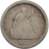 1875-S Twenty Cent Piece Silver Coin - Good / Very Good