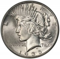 1935 Peace Silver Dollar Coin - Brilliant Uncirculated (BU)