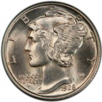 1928 Mercury Silver Dime Coin - Choice BU