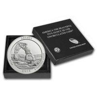 2014-P 5 oz Burnished Arches ATB Silver Coin (w/ Box & COA)