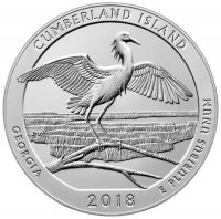 2018-P 5 oz Burnished Cumberland Island ATB Silver Coin (w/ Box & COA)