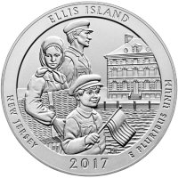 2017-P 5 oz Burnished Ellis Island ATB Silver Coin (w/ Box & COA)