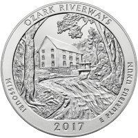 2017-P 5 oz Burnished Ozark Riverways ATB Silver Coin (w/ Box & COA)