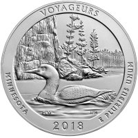2018-P 5 oz Burnished Voyageurs ATB Silver Coin (w/ Box & COA)