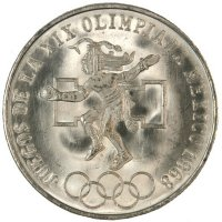 1968 Mexican Olympic Dancer Silver 25 Pesos Coin - BU
