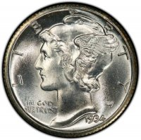 1934 Mercury Silver Dime Coin - Choice BU