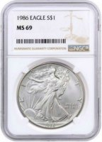 1986 1 oz American Silver Eagle Coin - NGC MS-69