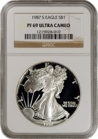 1987-S 1 oz American Proof Silver Eagle Coin - NGC PF-69 Ultra Cameo