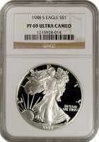 1988-S 1 oz American Proof Silver Eagle Coin - NGC PF-69 Ultra Cameo