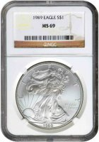 1989 1 oz American Silver Eagle Coin - NGC MS-69