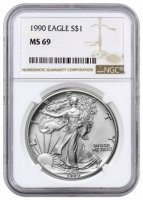 1990 1 oz American Silver Eagle Coin - NGC MS-69