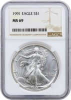 1991 1 oz American Silver Eagle Coin - NGC MS-69