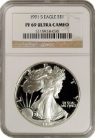 1991-S 1 oz American Proof Silver Eagle Coin - NGC PF-69 Ultra Cameo