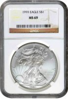1993 1 oz American Silver Eagle Coin - NGC MS-69