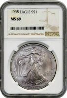 1995 1 oz American Silver Eagle Coin - NGC MS-69