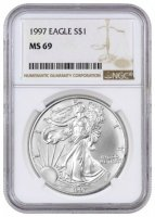 1997 1 oz American Silver Eagle Coin - NGC MS-69