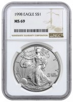 1998 1 oz American Silver Eagle Coin - NGC MS-69