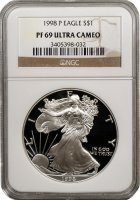 1998-P 1 oz American Proof Silver Eagle Coin - NGC PF-69 Ultra Cameo