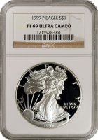 1999-P 1 oz American Proof Silver Eagle Coin - NGC PF-69 Ultra Cameo