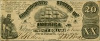 1861 $20.00 CSA Confederate Clipper Ship Note - Fine or Better