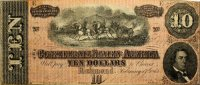 1864 $10.00 CSA Confederate Note - Fine or Better