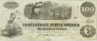 1862 $100.00 CSA Confederate Train Note - Fine or Better