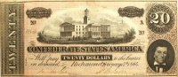 1864 $20.00 CSA Confederate Note - Fine or Better