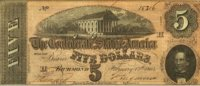 1863 $5.00 CSA Confederate Note - Fine or Better