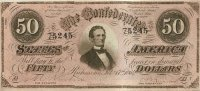 1864 $50.00 CSA Confederate Note - Fine or Better